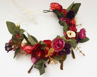 Free Domestic Shipping! Floral Crown Boho Flower Crown, Wedding Crown, Wedding Flower Crown, Wedding Headpiece, Floral Crown, Silk Flowers