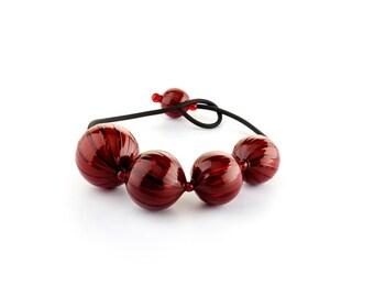 "Murano Glass Blown Necklace ""SUGE XL"", Handmade Glass Jewel, 5 Murano Glass Beads, Venetian Roll-Up Tecnique by JoGa Glass"