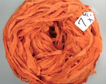 Sari Silk ribbon, Silk Chiffon Sari Ribbon, Harvest Orange sari ribbon, orange sari ribbon, chiffon ribbon, tassel supply, weaving supply