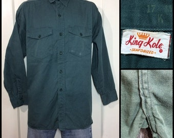 1950s King Kole sanforized heavy cotton twill work shirt size 17 XL green with gussets made in USA