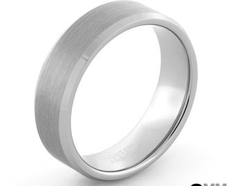 Brushed Silver Ring, Men's Silver Ring, Silver 8mm Tungsten Ring, Brushed Silver Wedding Band, Men's Wedding Ring, Silver Engagement Ring,