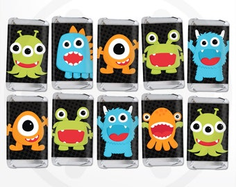 Little Monster Mini Candy Bar Wrappers. Mini Chocolate Bar Wraps. Printable Party Favor Labels. Nugget Wrapps. Funny Kids Birthday Favors