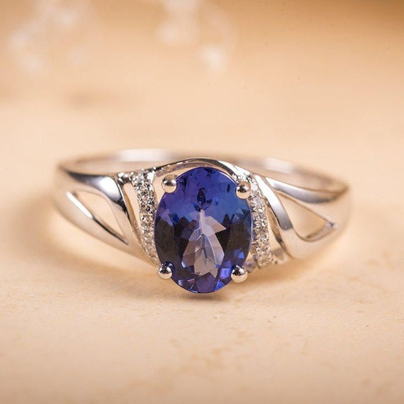 Unique Tanzanite Ring Oval Cut Tanzanite Engagement Ring White