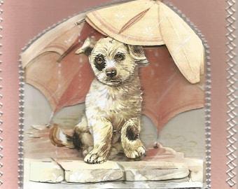 Animals, 3d card, handmade, animal category: dogs - birthday get well, thanks, breeding, dog, Doghouse, dog