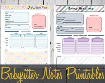 Babysitter Notes Printable Sheet, Babysitter Info, Babysitter Notes - INSTANT DOWNLOAD PDF
