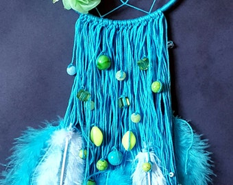 Light Blue w/ Lime Green Flowers Dreamcatcher
