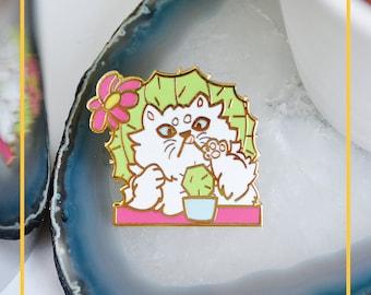 Cactus Cat hard enamel pin - gold plated pin - cat enamel pin - persian cat - cactus enamel pin - flora enamel pin - pastel enamel pin