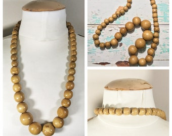 Wooden Beaded Necklace // Long Vintage Brown Bead Necklace