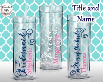 Personalized Bridesmaid Tumblers Glass Personalized Tumbler, Bridesmaid Gift, Bachelorette Party, Bridesmaid Glass Design #101