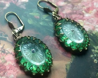Lalique Spring,antique glass button earrings with antique camphor stones