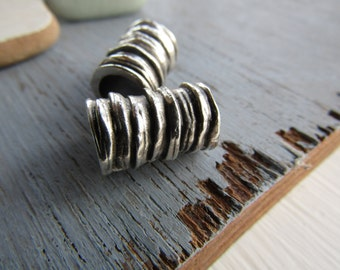Antiqued silver beads, tube barrel ridged rustic , large hole , silver plated antiqued / pewter tone  10 x 16mm (choose qty)  8as4641