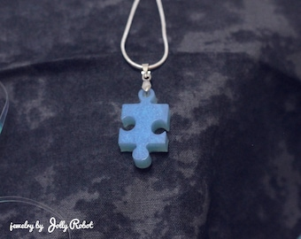 Pastel Goth Kawaii Blue 3D Puzzle Piece on 18inch Silver Snake Chain Necklace