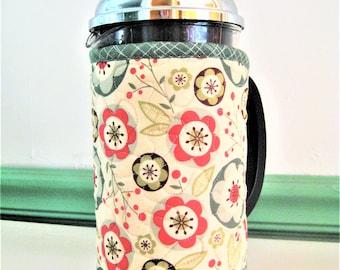 Folk Art Flowers, Retro Style French Press Coffee Cozy
