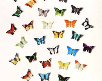 Tiny Paper Butterflies, Realistic printed paper butterflies Mix of 50, Mini paper butterflies, butterfly punchies