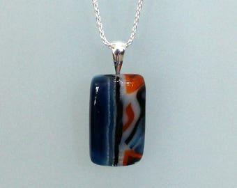 Southwestern Necklace // Fused Glass // Silver // Unique Jewelry // Blue // Orange