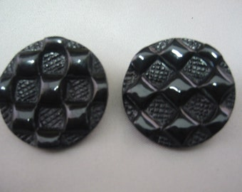 "Black Button, Large black shank button 1 1/8"" ( 30mm) in diameter - lot of 6 - Patchwork design"