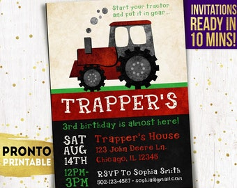 Tractor Birthday Invitation, Tractor Invitations, Tractor Invites, Tractor Birthday Invites, Tractor party invitations, farm party boys