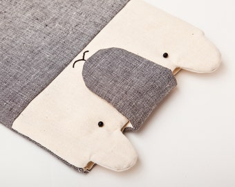Gray Bear iPad mini Case, iPad case, Fabric iPad Mini Sleeve, Nook Touch Sleeve, Animal iPad mini Case Kindle Cover Sleeve Kindle Paperwhite
