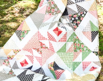 Quilt and Pillow Sham - Twin Size Farmer's Daughter - READY to SHIP  - Handmade Quilt