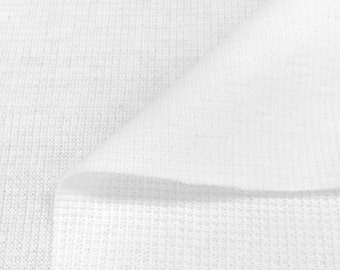 Flat Back Thermal Knit Fabric By the Yard (Wholesale Price Available By the Bolt) -USA Made Premium Quality  7365E White - 1 Yard