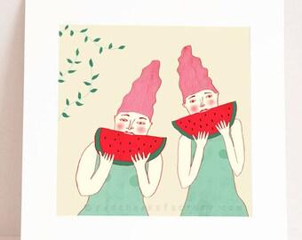 giclee print - watermelon twins -  summer art print - twins illustration  -  wall art - wimsical art print - home decor