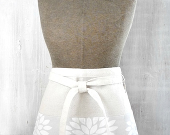Gray Half Apron - Half Apron With Pockets - Utility Garden Apron - Gray and White Flower