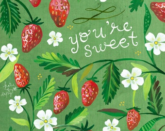 You're Sweet Strawberries print | Watercolor and Acrylic Painting | Kitchen Wall Art | Katie Daisy | 8x10 | 11x14
