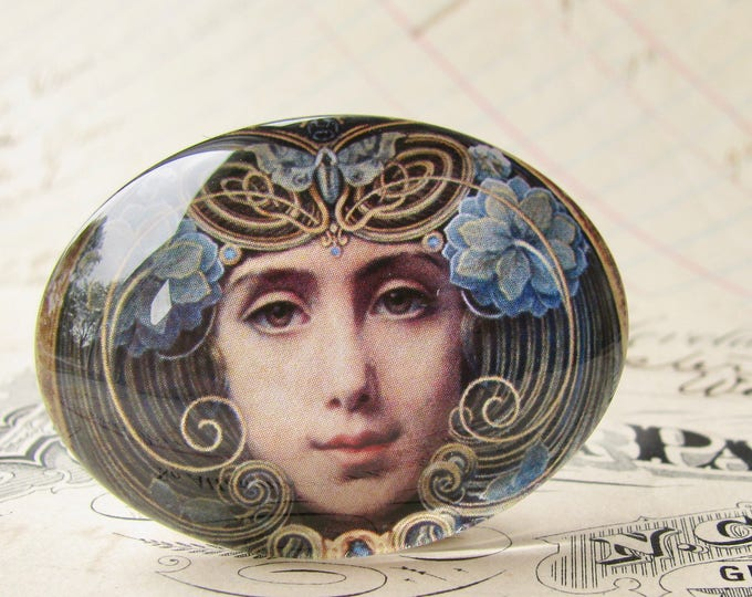 "Handmade glass cabochon - ""Mask"" - 40x30mm oval, horizontal orientation, wide, woman face, blue, swirls, Art Nouveau collection"