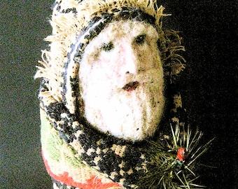 OOAK Primitive Folk Art Santa-BELSNICKEL-Original Design Handcrafted from Antique Coverlet with Goose Feather Sprig
