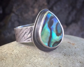 Abalone Ring, Size 10, Sterling Silver, Wide Band, Rustic, Earthy, Teardrop, Pear