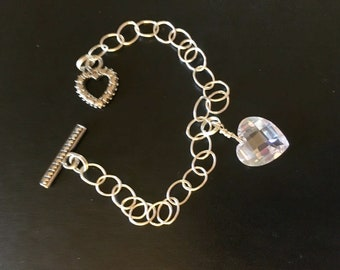 Cubic Zirconia Crystal Heart Charm Bracelet Sterling Silver Chain