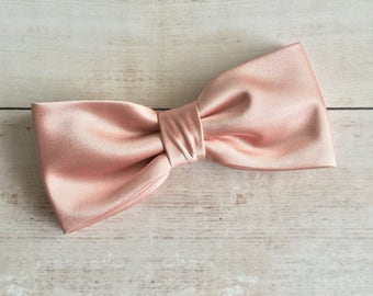 Rose Gold Bow tie, Mens Bow Tie, Solid Satin BowTie, Bow Tie for Wedding, Bow Tie for Groom Groomsmen, Kid Bow tie, Baby Bowtie