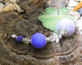 "Keyring, pendant, ""Erian"" felt balls, glass and metal beads, Waldorf"