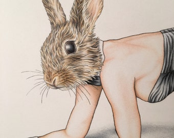Bunny Burlesque Zoo Artwork Pinup Playboy Print 11x14
