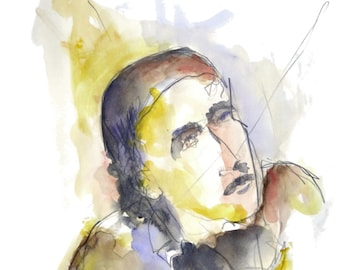 """Large watercolor woman portrait painting art 19.8 X 13.7"""""""