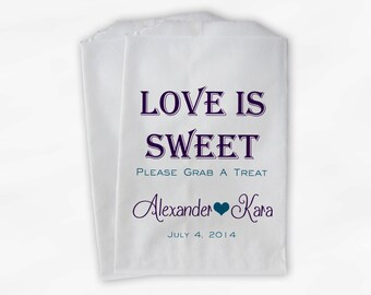 Love Is Sweet Grab a Treat Wedding Candy Buffet Treat Bags - Personalized Favor Bags in Purple and Peacock - Custom Paper Bags (0078)