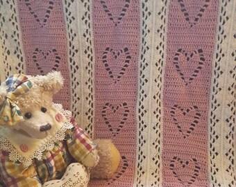 Handmade crochet baby blanket dusky pink & white