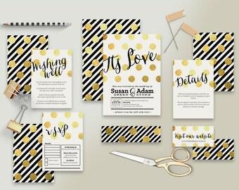 "Printable Wedding Invitation Suite ""Be Fabulous"" - Printable DIY Invite, Affordable Wedding Invitation"