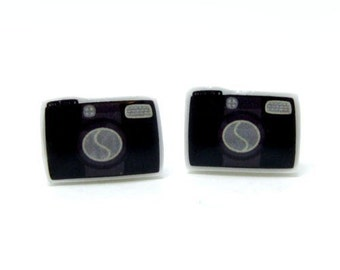 Camera Earrings | Black Sterling Silver Posts Studs | Gifts For Her
