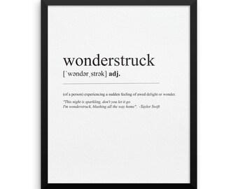 Wonderstruck Definition and Lyrics / Framed Print / Taylor Swift / Dictionary Print Wall Art