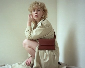 Brown Fanny Pack | Hip Bag | Minimalist Women Bag On Belt | Leather Belt Bag | Travel Fanny Pack | Leather Fanny Pack | Waist Bag Men