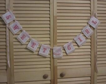 Sweet Baby Girl Shower Banner, Vintage Baby Shower Banner, Baby Girl Baby Shower Banner, Vintage Baby