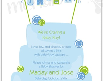 Craving A Baby Boy - DIY Shower Invite & RSVP Cards