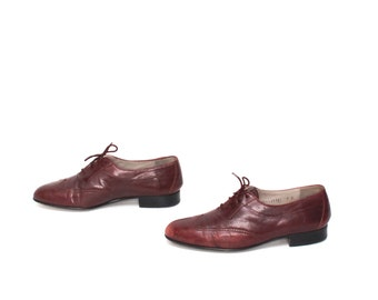 mens size 9 PIERRE CARDIN oxblood leather 80's WINGTIPS lace up dress shoes