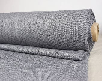 """Linen fabric. 100% linen 210gsm. Small melange """"birds eye"""" white-black woven pattern.  Middle weight, washed-softened.  Soft, smooth, silky."""