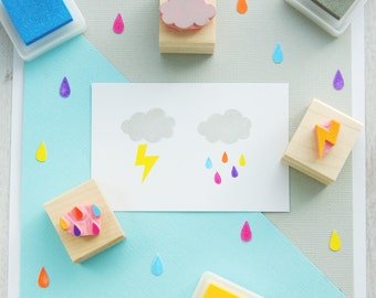 Rain Cloud set of 3 Rubber Stamps - Raindrops  - Rain Drops  - Thunderbolt  - Thunder Cloud  - Lightening - Gift for Cloud Lover - Cloudy