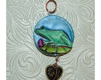 Wonderful Frog on Lilly Pad Handmade Pendant