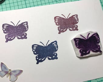Butterfly  hand carved rubber stamp