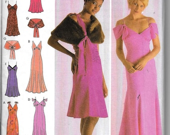 Simplicity 4875 Evening Dress & Caplet Strapless Bridesmaid/Prom Gowns Sewing Pattern UNCUT Size 12, 14, 16, 18, 20