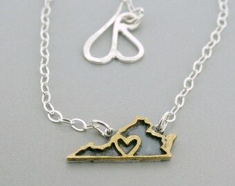 Sterling Silver and Brass State Charms Necklace - State Line Collection